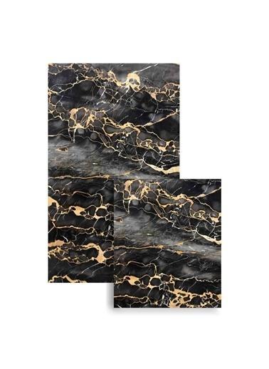 Soley 2'Li Köşeli Süngerli Banyo Paspası Siyah